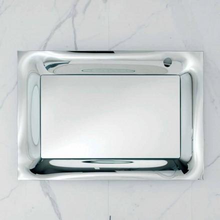Specchio da bagno cornice vetro fuso argentato design modernoArin