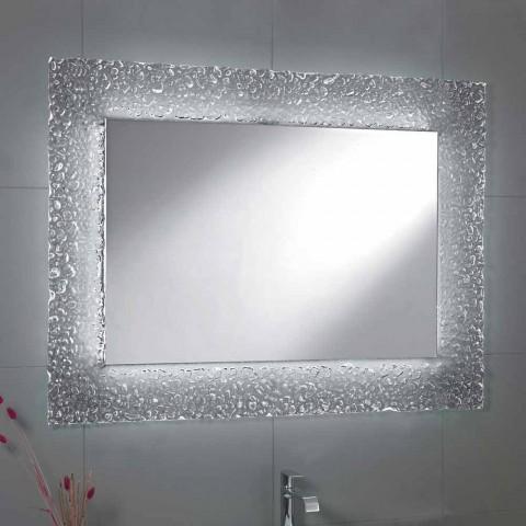 Faretti Per Specchio Da Bagno.Specchio Da Bagno Moderno Con Decoro Cornice In Vetro E Luci Led Tara