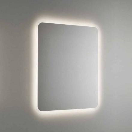 Specchio da Bagno Stondato con Retroilluminazione LED Made in Italy - Pato