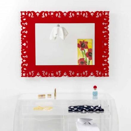 Specchio da muro rosso con decorazione macramè Tonya made in Italy