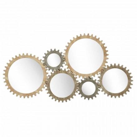 Specchio da Parete di Design Moderno a Ingranaggio in Ferro - Regiano