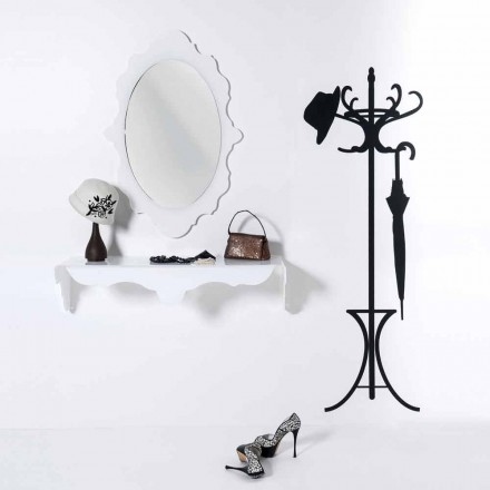 Specchio da parete bianco di design Joy cornice decorata,made in Italy