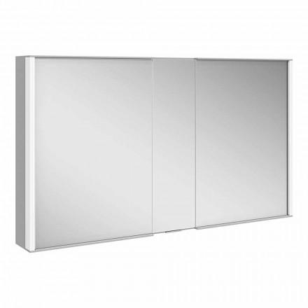Specchio da Parete con 3 Ante Moderno in Alluminio Verniciato Argento - Demon
