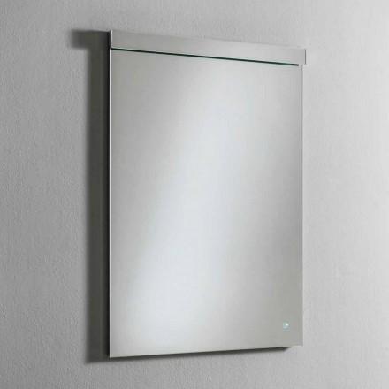 Specchio da Parete con Luce LED Integrata in Acciaio Inox Made in Italy - Tuccio