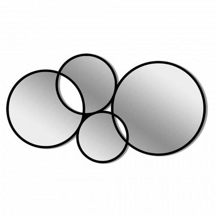 Specchio da Parete Design Moderno a Forma di Anelli Cornice Colorata - Sintesi