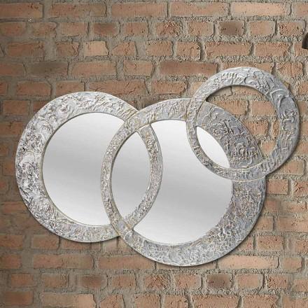 Specchio da parete di design in foglia argento made in Italy Cortina