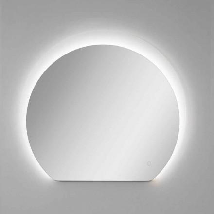 Specchio da Parete Moderno con Dettaglio Sabbiato e LED Made in Italy - Rialto