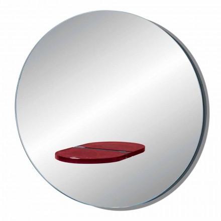 Specchio da Parete Rotondo con Mensola in Vetro Colorato Made in Italy - Eliza