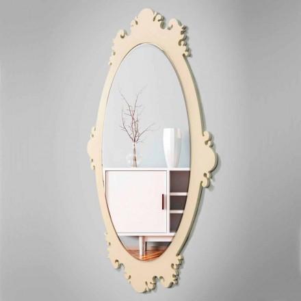 Specchio da Parete Vintage di Design in Legno Marrone con Cornice - Giangio