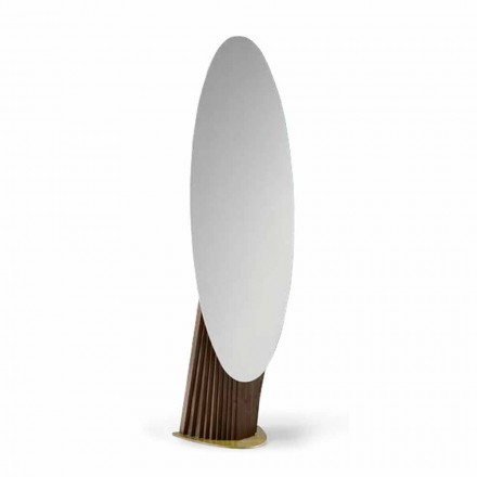 Specchio da Terra di Lusso in Legno Frassino e Metallo Made in Italy - Cuspide
