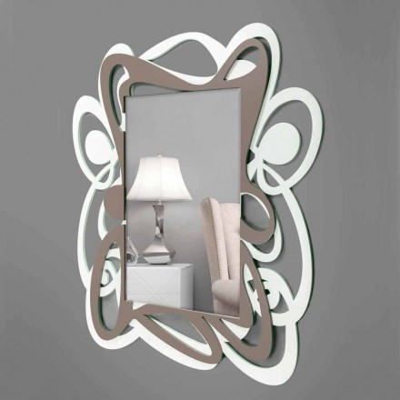 Specchio Decorativo da Parete Design Grande Moderno Bianco e Beige - Bocchio