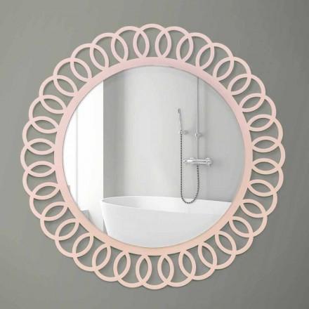 Specchio Grande da Parete di Design Decorativo e Moderno in Legno Rosa - Crown