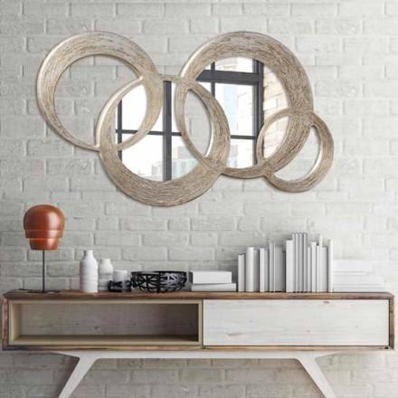 Specchio in Mdf finitura foglia argento su lavorazione materica Ball