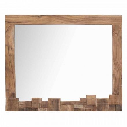 Specchio Rettangolare da Parete Moderno con Cornice in Legno di Acacia - Eloise