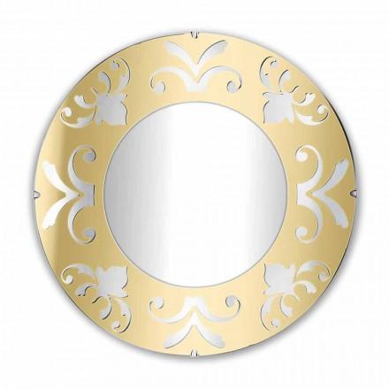 Specchio Rotondo Design in Plexiglass Oro Argento o Bronzo con Cornice - Foscolo