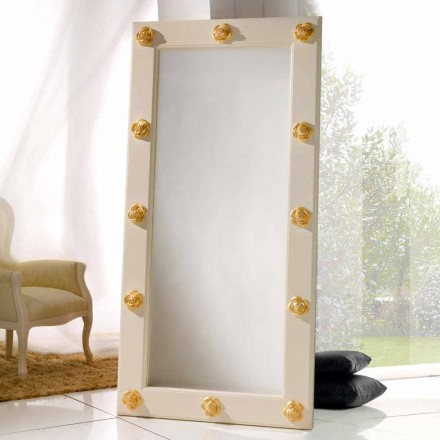 Specchio verticale da terra / muro con decorazioni Abel, fatto a mano