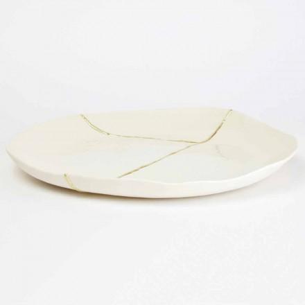 Svuotatasche Rotondo, in Porcellana Bianca e Foglia d'Oro di Design - Cicatroro