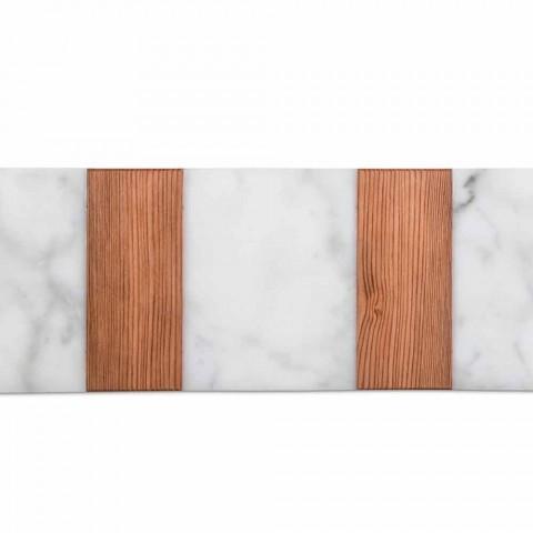 Tagliere di Design in Marmo Bianco di Carrara e Legno Made in Italy - Evea