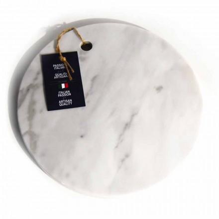 Tagliere in Marmo Bianco di Carrara di Design Rotondo Made in Italy - Masha