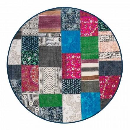 Tappeto Etnico Rotondo in Tessuto Cotone Colorato – Fibra
