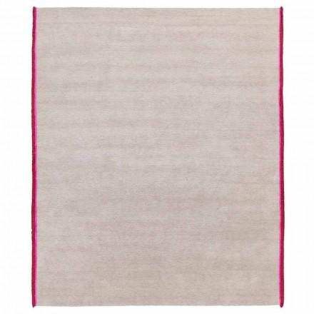Tappeto in Viscosa e Cotone con Frange Colorate in Seta Design Moderno - Garbino