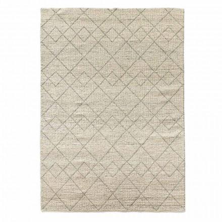 Tappeto Moderno da Salotto Tessuto a Mano in Lana Design Geometrico - Geome
