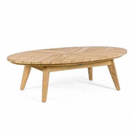 Tavolino Basso da Esterno in Teak con Piano Ovale, Homemotion - Ricardo