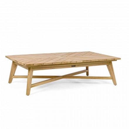 Tavolino Basso da Esterno Rettangolare in Legno di Teak, Homemotion - Stuart