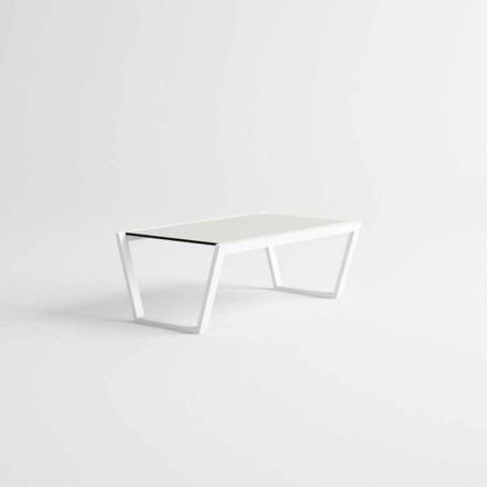 Tavolino Basso da Giardino di Design Moderno in Alluminio Bianco - Louisiana3