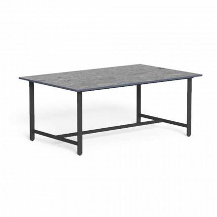 Tavolino Basso da Giardino in Alluminio e Gres di Lusso - Riviera by Talenti