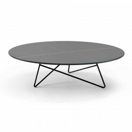 Tavolino Tondo da Soggiorno in Metallo e Vetro Effetto Marmo di Lusso - Magali