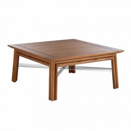 Tavolino Basso Quadrato da Esterno in Legno Naturale o Nero di Design - Suzana