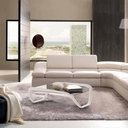 Tavolino bianco design moderno in vetro e Solid Surface Continuum