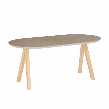 Tavolino Caffè in Ceramica e Legno Naturale Design Ovale Moderno - Amerigo