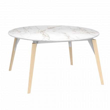 Tavolino Caffè Tondo Piano Effetto Marmo, 3 Colori 2 Misure - Faz Wood by Vondom