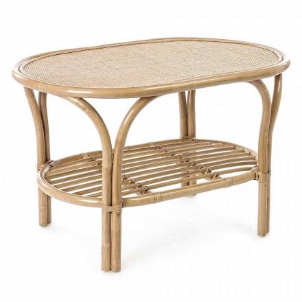 Tavolino Basso da Giardino di Design in Rattan Naturale da Esterno - Maurizia