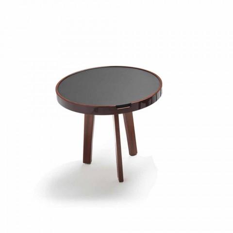 Tavolino In Pelle.Tavolino Cocktail Con Piano In Pelle Nera Design Diametro 60cm Selmo