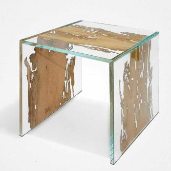 Tavolino / comodino in legno di briccola di Venezia e vetro Rialto
