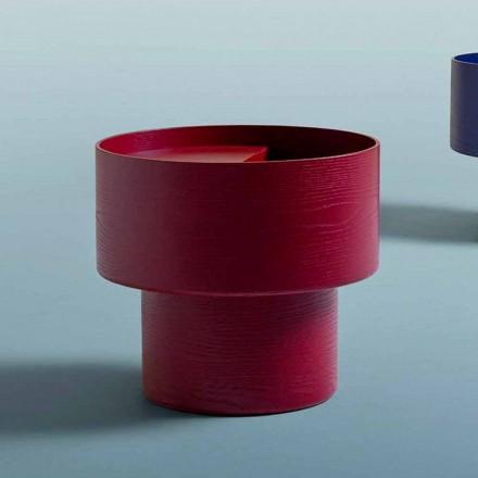 Tavolino Comodino Rotondo di Design Moderno in Legno Bordeaux o Blu - Vinnie
