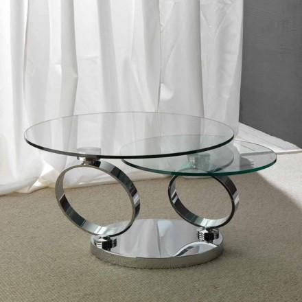 Tavolino con due piani tondi movibili sincronizzati in vetro Chieti
