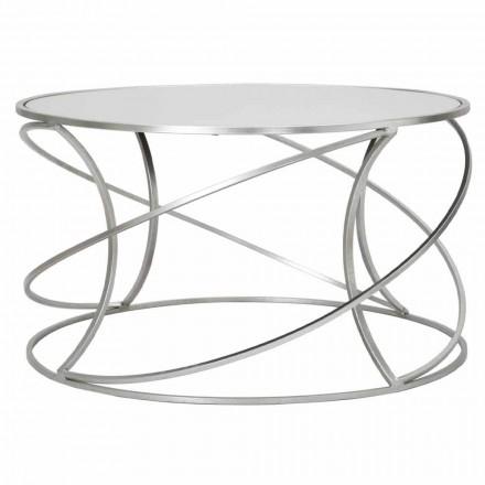 Tavolino da Caffè Basso da Salotto in Ferro e Specchio Moderno - Corine