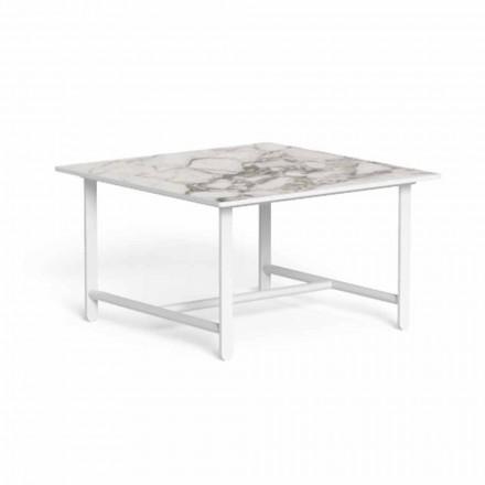 Tavolino da Caffè da Giardino, Quadrato in Alluminio e Gres - Riviera by Talenti