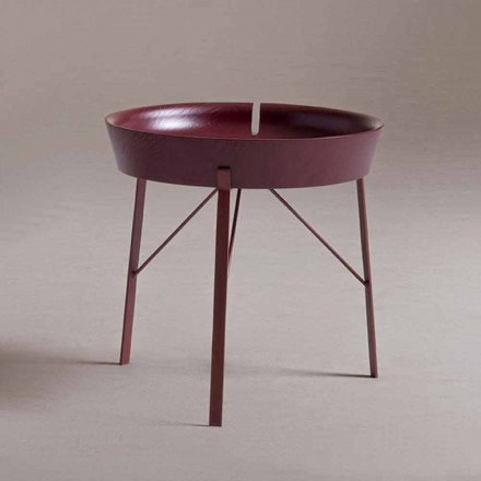 Tavolino da Caffè da Salotto in Acciaio e Legno Colorato Design Moderno - Cocoon