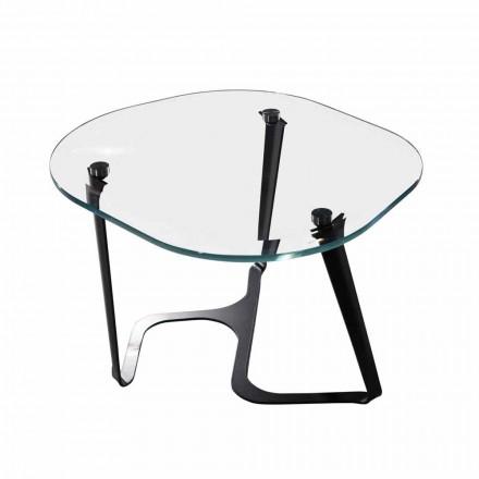 Tavolino da Caffè Fatto a Mano in Vetro e Acciaio Made in Italy - Marbello