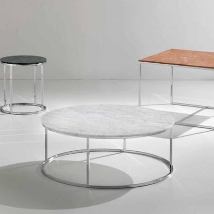 Tavolino da caffè in marmo bianco carrara con base cromata Zeus
