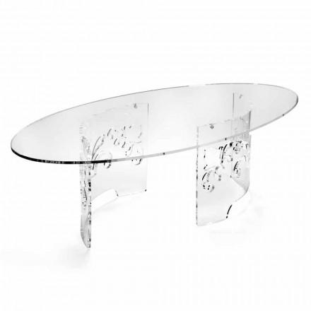 Tavolino da Caffè in Plexiglass Fumè o Trasparente con Base Decorata - Crasso
