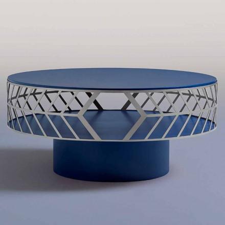 Tavolino da Caffè Moderno Basso di Design Blu o Bordeaux con Anello - Lok