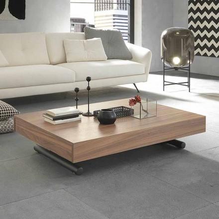 Tavolino da Caffè Moderno Trasformabile in Legno e Metallo Made in Italy - Fabio