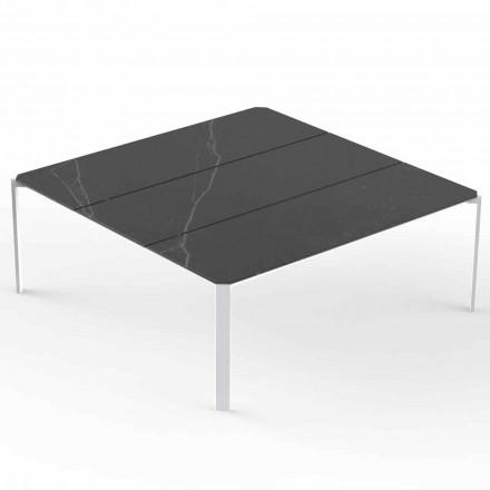 Tavolino da Caffè Quadrato da Giardino, Piano Effetto Marmo - Tablet by Vondom
