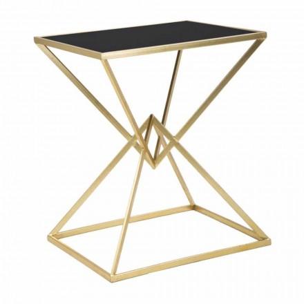 Tavolino da Caffè Rettangolare di Design in Ferro e Vetro - Rosie